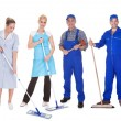 Group Of Cleaners With Mop — Stock Photo