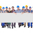 Group Of Construction Workers With Placard — Stock Photo