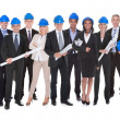 Group Of Architects With Blue Print — Stock Photo
