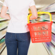 Rear View Of A Woman Holding Empty Basket — Stock Photo