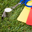 Whistle With Red And Yellow Card On The Field — Stock Photo
