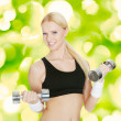 Fitness Woman With Dumbbell — Stock Photo