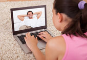 Woman Having A Video Chat — Stock fotografie