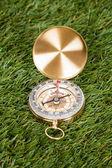 Compass On Green Grass — Stock Photo