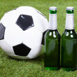 Soccer Ball And Beer Bottles On Green Grass — Stock Photo