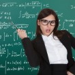 Female Teacher In Front Of Green Board — Stock Photo