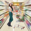 Woman Holding Shopping Cart — 图库照片