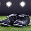 Soccer Shoes Lying On The Green Pitch — Stock fotografie