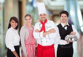 группа сотрудников ресторана — Стоковое фото