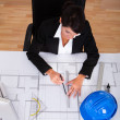 Female Architect With Blue Print — Stock Photo