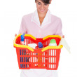 Female Cleaner With Cleaning Supplies — Stock Photo #33101929