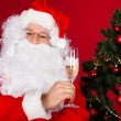 Portrait of a happy santa holding wine glass — Stockfoto