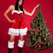 Young Woman with Christmas Tree — Stok fotoğraf