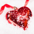 Red Heart Shaped Christmas Bauble — Stok fotoğraf
