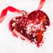 Red Heart Shaped Christmas Bauble — ストック写真