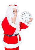 Santa Claus With Clock — Stock Photo
