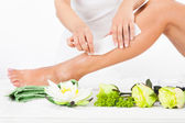Woman Getting Legs Waxed — Stock Photo