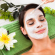 Beautiful Woman With Facial Mask At Spa — Stock Photo #34293515