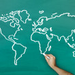 Stock Photo: Hand drawing world map