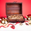 Euro Coins In Treasure Box — Stock Photo