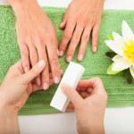 Beautician Polishing The Nails — Stock Photo