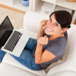 Young Woman Sitting With Laptop — Stock Photo