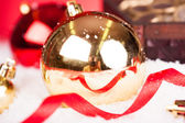 Golden Decorative Christmas Baubles — Stock Photo