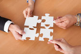 Businesspeople Holding Jigsaw Puzzle — Stock Photo