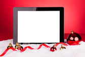 Blank Digital Tablet With Christmas Baubles — Stock Photo