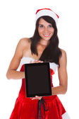 Happy Woman With Digital Tablet — Stock Photo