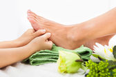 Woman Feet Undergoing Massage — Stock Photo