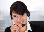 Callcenter Employee With Headset — Stock Photo