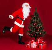 санта и рождественская елка — Стоковое фото