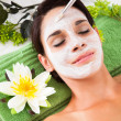 Beautiful Woman With Facial Mask At Spa — Stock Photo