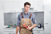 Young Plumber Holding Wrench — Stock Photo