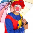 Happy Clown With Umbrella — Stock Photo