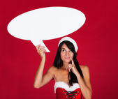 Young Woman With Speech Bubble — Foto de Stock