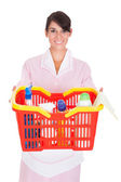 Female Cleaner With Cleaning Supplies — Stock Photo