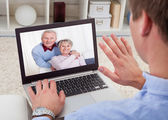 Man Video Conferencing On Laptop — Stock Photo