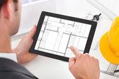 Architect Holding Digital Tablet — Stok fotoğraf
