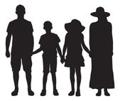 Silhouette of family of four. Vector image — Stock Vector