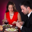 Young Couple Having Dinner With Wine — Stock Photo #35620523