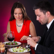 Young Couple Having Dinner With Wine — Stock Photo