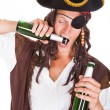 Pirate Drinking Beer — Stock Photo
