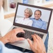 Man Having A Video Chat With Parents — Stock Photo