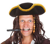 Pirate Holding Knife In His Mouth — Photo