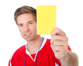 Soccer Referee Showing Yellow Card — Stock Photo
