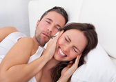 Woman Disturbed With Man Snoring — Stock Photo