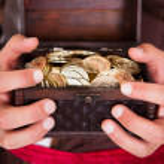 Pirate Holding Treasure Box — Stock Photo #36129207