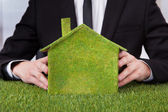 Businessman Holding House Of Grass — Stock Photo